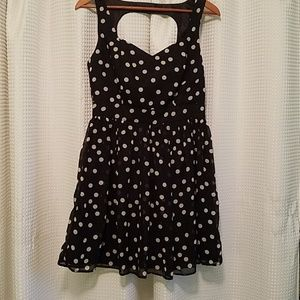 Wet Seal Dresses - Wet Seal polka dress black with ivory dots. Size M